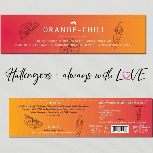 Zartbitter-Schokolade mit Orange & Chili hand-geschöpft (90g) - Orange-Chili (Tafel-Karton)