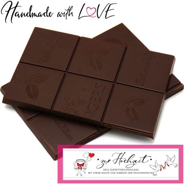 Zartbitter-Schokolade mit Himbeere & Maracuja hand-geschöpft (90g) - Zur Hochzeit (Tafel-Karton)