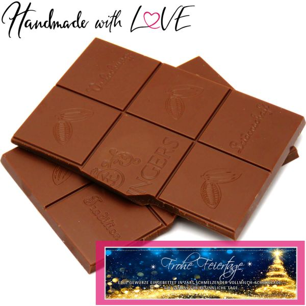 Vollmilch-Schokolade mit Lebkuchengeschmack hand-geschöpft (90g) - Merry Christmas (Tafel-Karton)
