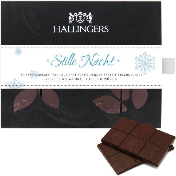 Zartbitter-Schokolade mit Gewürzen hand-geschöpft (90g) - Stille Nacht (Tafel-Karton)