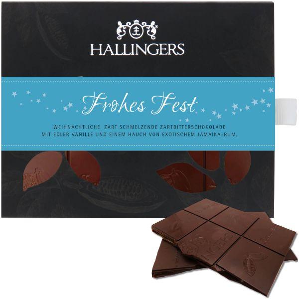 Zartbitter-Schokolade mit Vanille & Rum hand-geschöpft (90g) - Frohes Fest (Tafel-Karton)