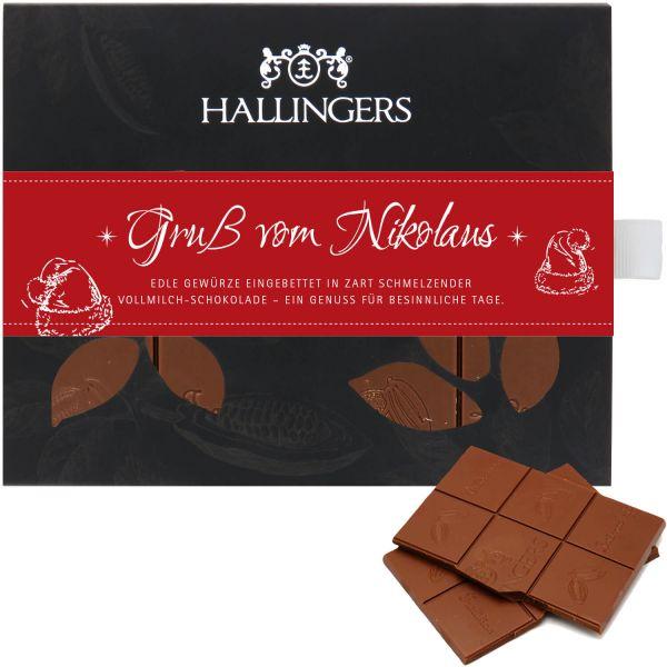 Vollmilch-Schokolade mit Gewürzen hand-geschöpft (90g) - Gruß vom Nikolaus (Tafel-Karton)
