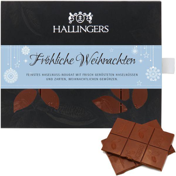 Vollmilch-Schokolade mit Nuss-Nougat hand-geschöpft (90g) - Fröhliche Weihnachten (Tafel-Karton)