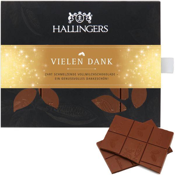 Vollmilch-Schokolade, zart schmelzend hand-geschöpft (90g) - Vielen Dank (Tafel-Karton)