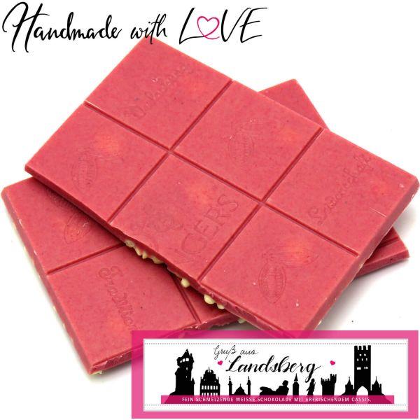 Weiße Schokolade mit Cassis hand-geschöpft (90g) - Gruß aus Landsberg I (Tafel-Karton)