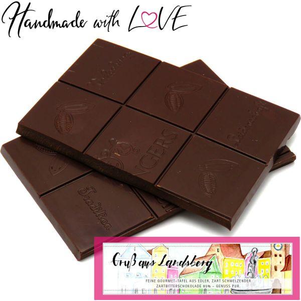 Zartbitter-Schokolade 85% hand-geschöpft (90g) - Gruß aus Landsberg III (Tafel-Karton)