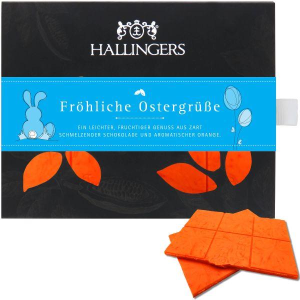 Weiße Schokolade mit Orange hand-geschöpft (90g) - Fröhliche Ostergrüße (Tafel-Karton)