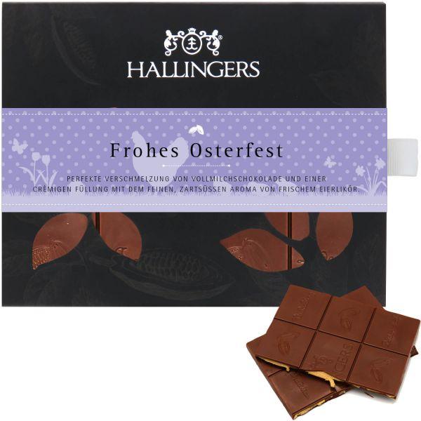 Vollmilch-Schokolade mit Eierlikör hand-geschöpft (90g) - Frohes Osterfest (Tafel-Karton)