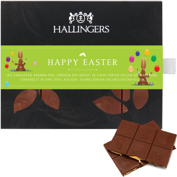 Vollmilch-Schokolade mit Macadamia-Nougat hand-geschöpft (90g) - Happy Easter (Tafel-Karton)