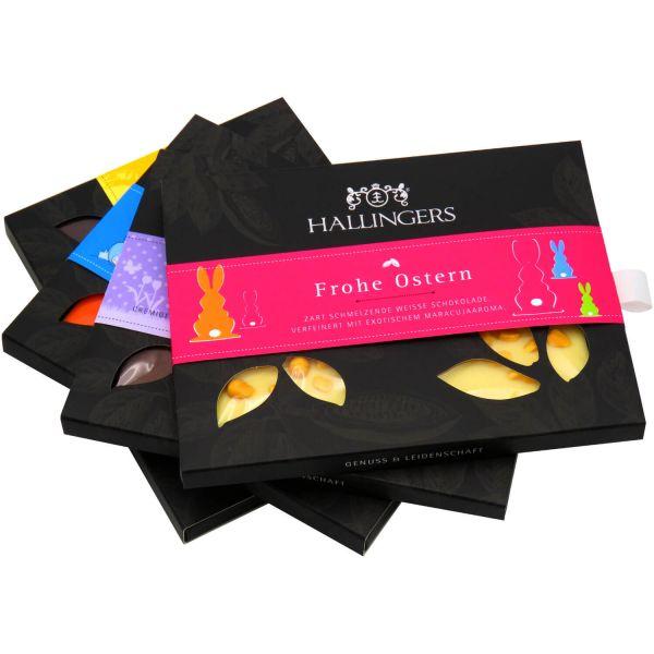 4er Set hand-geschöpfte Schokoladen-Tafeln (360g) - Alle 4 Oster-Tafeln und Tragetasche (Tafel-Karton)