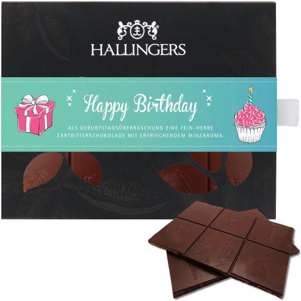 Zartbitter-Schokolade mit Minze hand-geschöpft (90g) - Happy Birthday (Tafel-Karton)