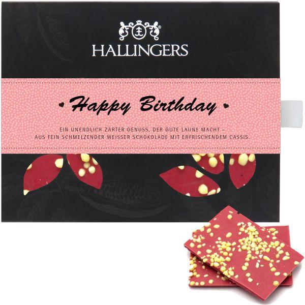 Weiße Schokolade mit Cassis hand-geschöpft (90g) - Happy Birthday Girl (Tafel-Karton)