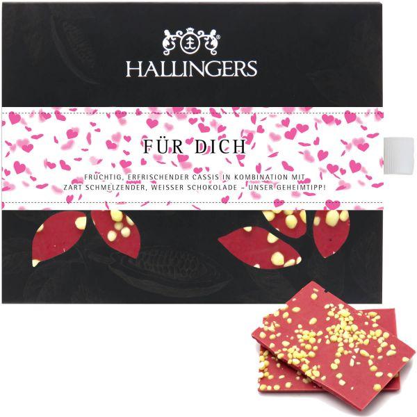 Weiße Schokolade mit Cassis hand-geschöpft (90g) - Für Dich Herz-Edition (Tafel-Karton)