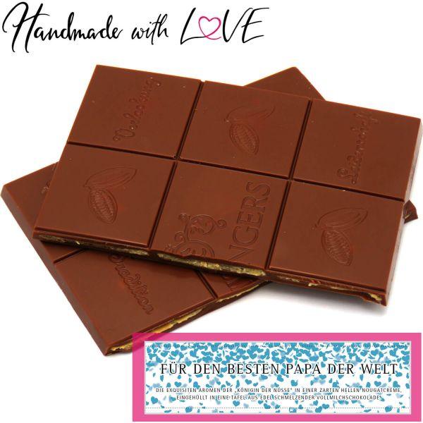Vollmilch-Schokolade mit Eierlikör hand-geschöpft (90g) - Für den besten Papa der Welt (Tafel-Karton)