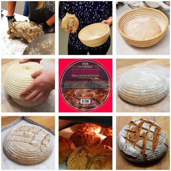 Natürliche Brotbackmischung Komplett-Set (1.200g) - Komplett-Set Bauernbrotmix, Gewürze und Gärkorb (Aromabeutel)