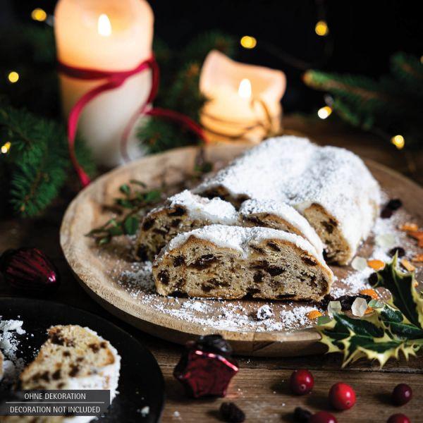 Traditionell gebackener Christstollen in edler Box (500g) - Saftiger Christstollen (Design-Karton)