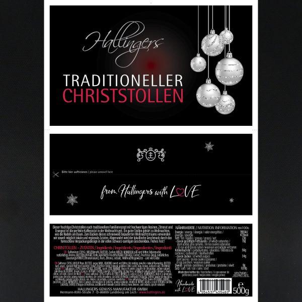 Traditionell gebackener Christstollen in edler Box (500g) - Traditioneller Christstollen (Design-Karton)