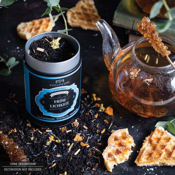 Loser Schwarz-Tee mit Katzenpfötchen, Rosenblüte & Waldbeere (80g) - Fröhlichkeit (Premiumdose)