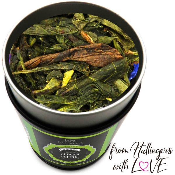 Loser Grün-Tee mit Erdbeere, Rosa Pfeffer & Kornblume (80g) - Glücksgefühl (Premiumdose)