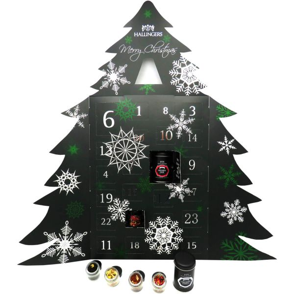 Riesiger 24 Tee-Adventskalender als Baum (345g) - Merry Christmas (Adventsbaum)