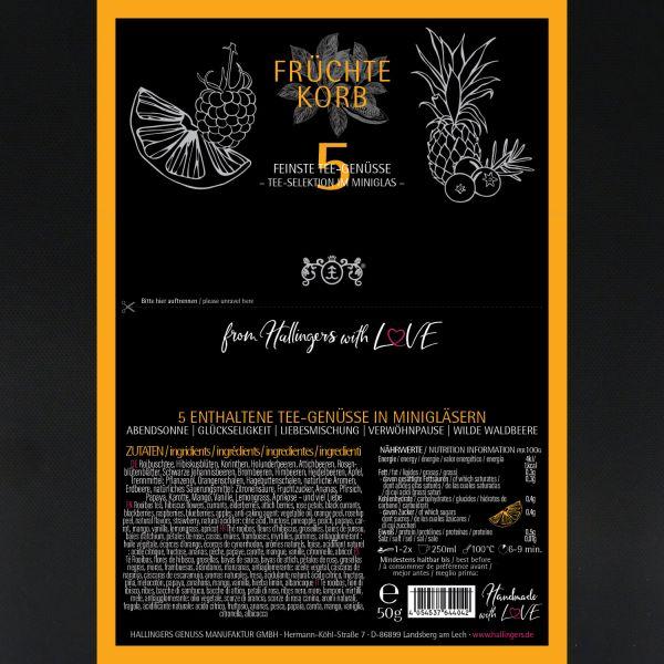 5er Tee-Geschenk-Set Früchtetee & Roiboos-Tee (50g) - Früchte Korb (Set)