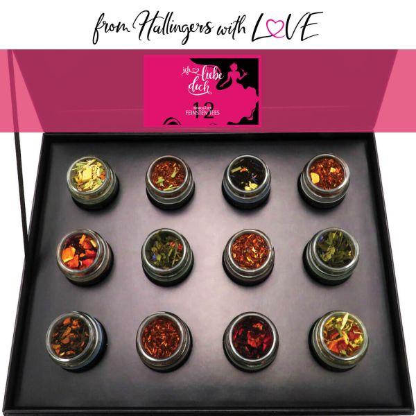 12er Tee-Geschenk-Set mit Tee aus aller Welt (120g) - Ich liebe Dich (Design-Karton)
