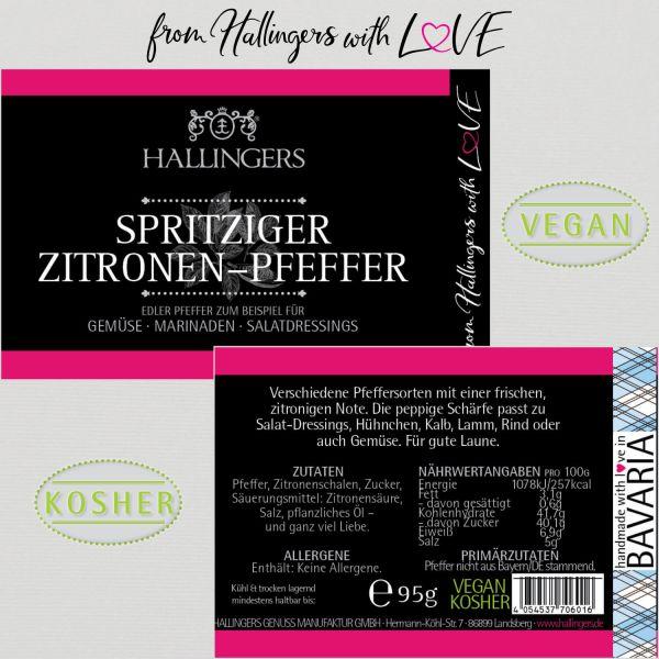 Premium Pfeffer für Gemüse, Marinade & Salatdressing (95g) - Spritziger Zitronen-Pfeffer (Aromadose)