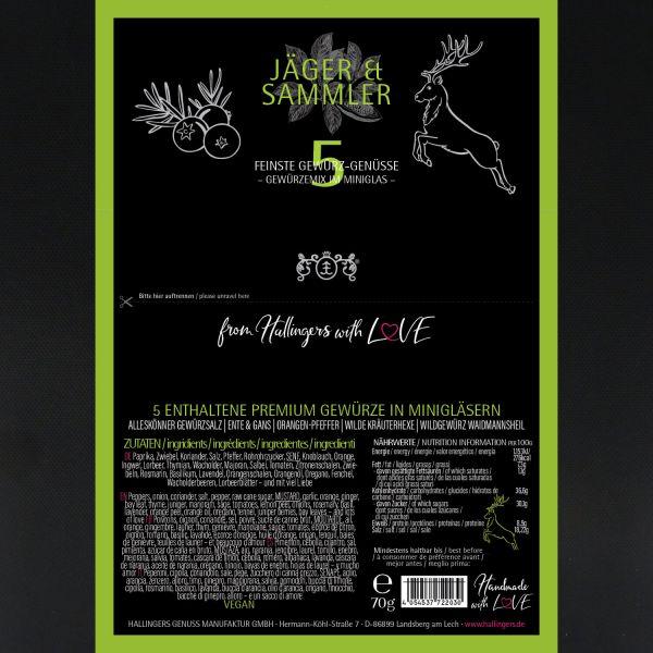 5er Premium-Grill-Gewürze als Geschenk-Set (70g) - Jäger und Sammler (Set)