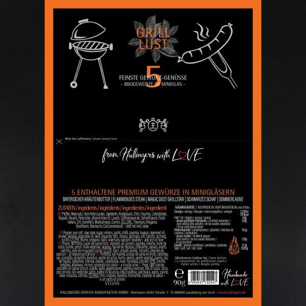 5er Premium-Grill-Gewürze als Geschenk-Set (90g) - Grilllust (Set)
