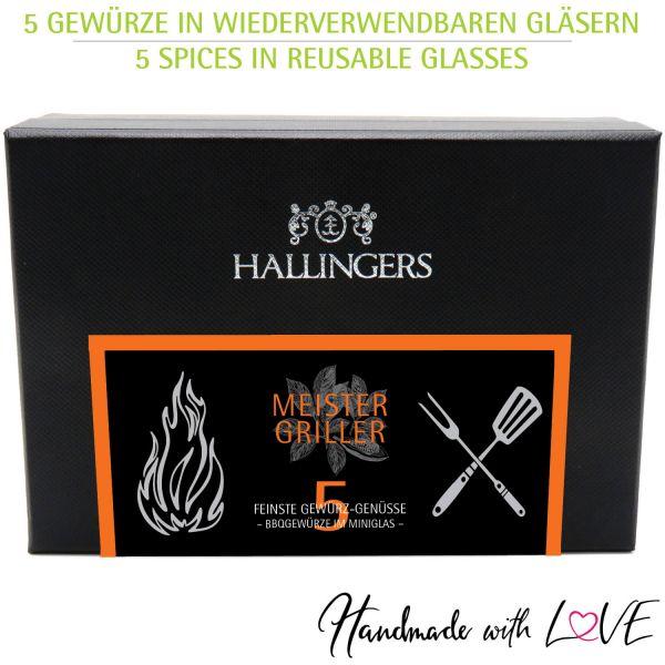 5er Premium-Grill-Gewürze als Geschenk-Set (95g) - Meistergriller (MiniDeluxe-Box)