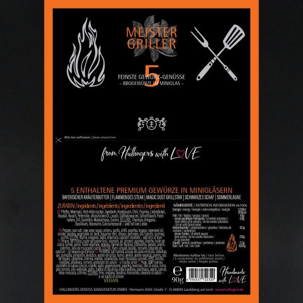 5er Premium-Grill-Gewürze als Geschenk-Set (90g) - Meistergriller (Set)