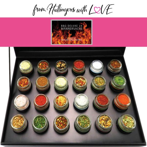 24er BBQ-Adventskalender mit Gewürzen aus aller Welt (425g) - BBQ Deluxe 24 Männersache Advent Hidden (Deluxe-Box)