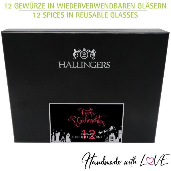 12er Gewürz-Geschenk-Set mit Gewürzen aus aller Welt (220g) - Klassisches Gewürz-Set xMas (Design-Karton)