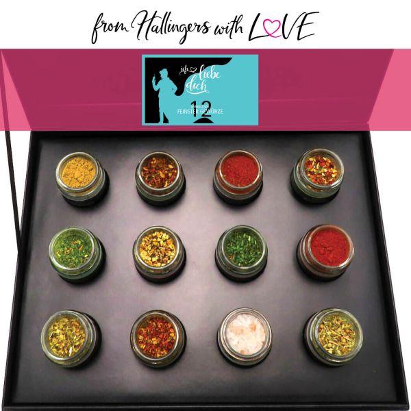 12er Gewürz-Geschenk-Set mit Gewürzen aus aller Welt (220g) - Ich liebe Dich (Design-Karton)