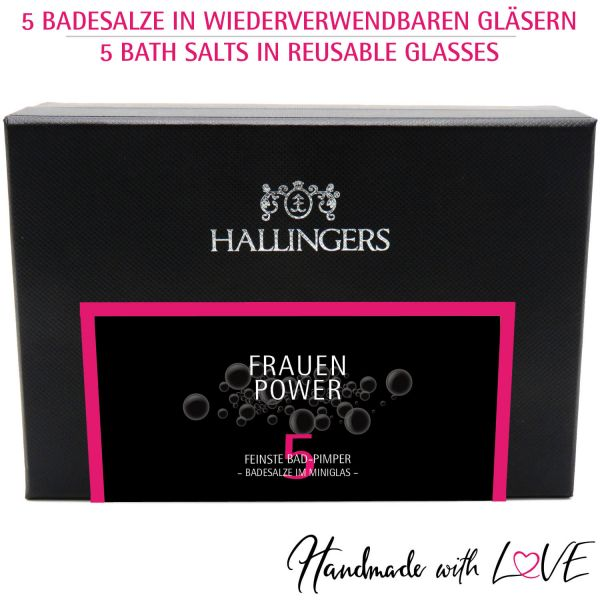 5er Badesalz-Geschenk-Set mit Totes Meer-Salzen (175g) - Frauen-Power (MiniDeluxe-Box)