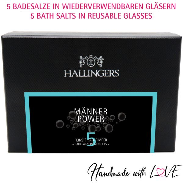5er Badesalz-Geschenk-Set mit Totes Meer-Salzen (175g) - Männer-Power (MiniDeluxe-Box)