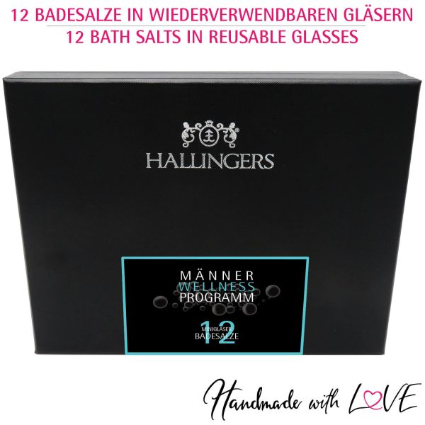 12er Badesalz-Geschenk-Set mit Totes Meer-Salzen (420g) - Männer-Wellness-Programm (Design-Karton)