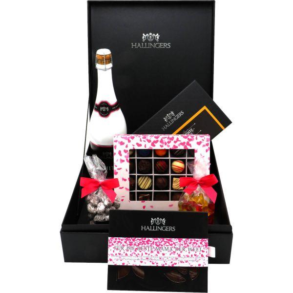 Muttertag Geschenk Set - Schokolade, Pralinen, Sekt, Tee, Nougatmandeln und Gummibärchen in premium Box (1.435g) - Muttertag Big Box Pink (Genussbox)