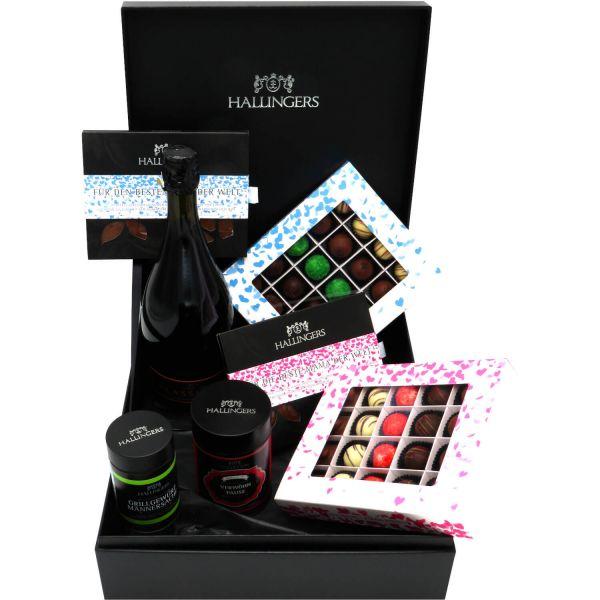 Muttertag & Vatertag Geschenk Set - Schokolade, Pralinen, Sekt, Tee und Gewürze in premium Box (1.660g) - Muttertag & Vatertag Big Box White (Genussbox)
