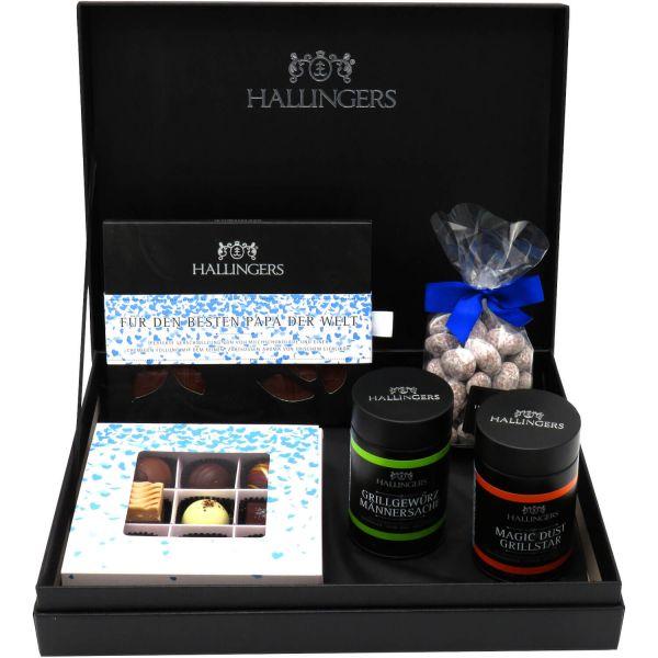 Vatertag Geschenk Set - Schokolade, Pralinen, Gewürze und Nougatmandeln in premium Box (598g) - Vatertag Box Blue (Design-Karton)
