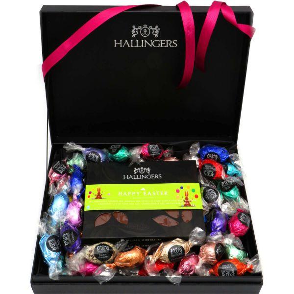 Oster-Geschenk-Set 4 Schokolade, 40 Trüffel / Ostereier für Ostern in edler Box (1.000g) - Easter Box Pink (Design-Karton)