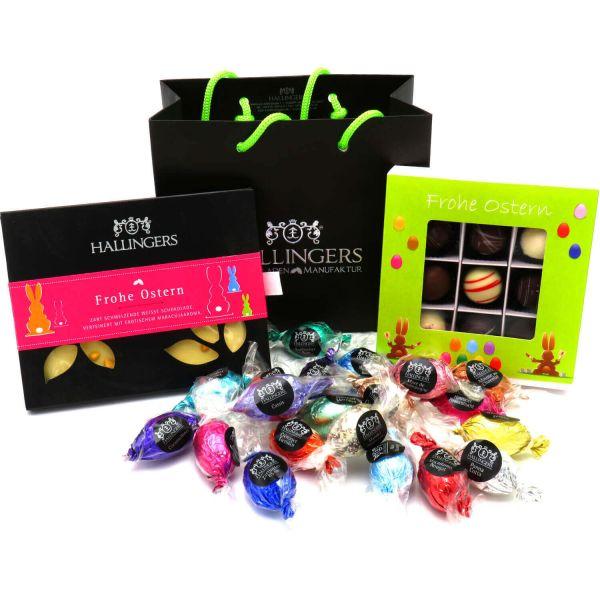 Oster-Geschenk-Set 1 Schokolade, 9er Trüffel und 20 Ostereiern für Ostern (519g) - Easter Bag Green Pink (Genusstasche)