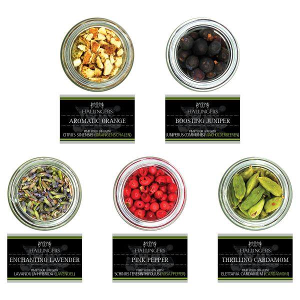5er Premium Gin Botanicals als Geschenk-Set (45g) - Botanical Gin Pimper (Set)
