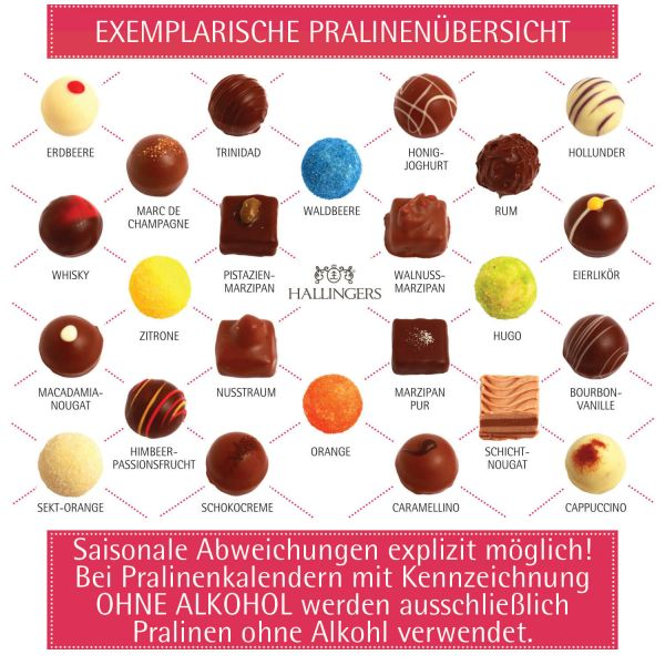 24 Pralinen-Adventskalender, mit/ohne Alkohol (300g) - Glitzertanne (Advents-Karton)