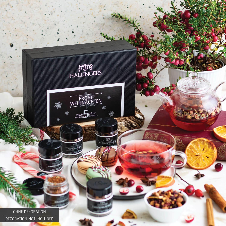 5er Weihnachts Tee Geschenk Set 50g Frohe Weihnachten Minideluxe Box