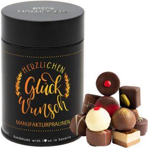 Pralinen Selection Herzlichen Glückwunsch Yellow - saisonaler Mix, z.B. für Muttertag, Vatertag, Valentinstag | Premiumdose | 150g