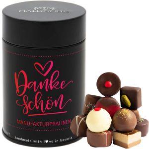 Pralinen Selection Vielen Dank Pink - saisonaler Mix, z.B. für Muttertag, Vatertag, Valentinstag | Premiumdose | 150g