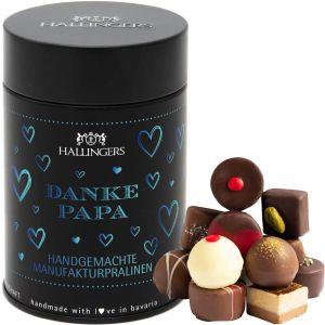 Pralinen Selection Danke Papa Blue - saisonaler Mix, z.B. für Muttertag, Vatertag, Valentinstag | Premiumdose | 150g