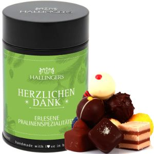 Pralinen Selection Herzlichen Dank - saisonaler Mix | Premiumdose | 150g