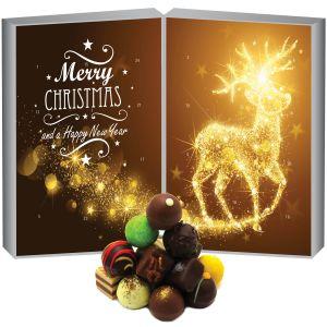 Adventskalender edler Pralinenkalender Buch Sternenstaub-Elch | DoubleKarton | 300g
